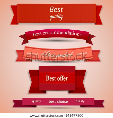Set of Superior Quality and Satisfaction Guarantee Ribbons, Labels, Tags. - stock vector