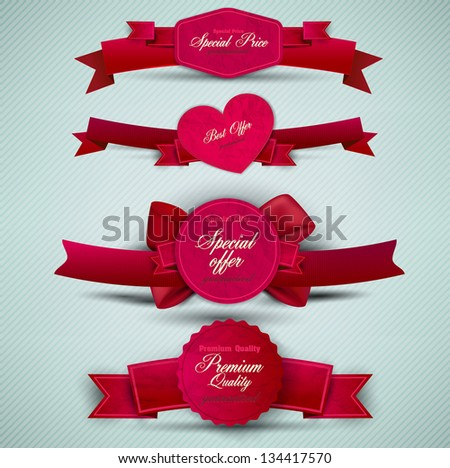 Set of Superior Quality and Satisfaction Guarantee Ribbons, Labels, Tags. Retro vintage style - stock vector