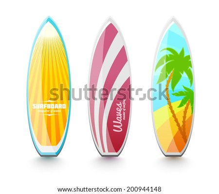 Set of surfboards for surfing. Eps10 vector illustration. Isolated on white background - stock vector