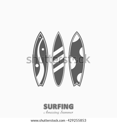 Set of surfboards with in a flat style isolated on white background. Summer sport surfing board activity wave extreme collection and icon surfing wood board.
