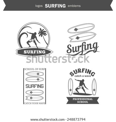Set of surfing logos, emblems and design elements - stock vector