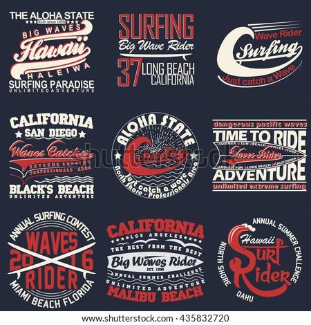 Set of Surfing t-shirt graphic design, vintage surfing print stamp, surfers wear typography emblem, Creative design, Vector - stock vector