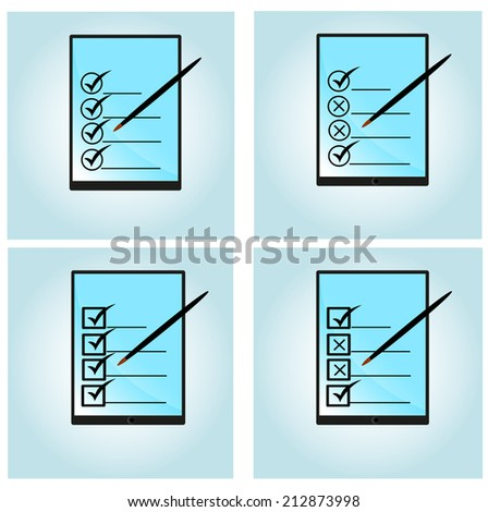 Set of surveying flat design style vector illustration concept of  modern digital tablet with customer service survey form on screen - stock vector