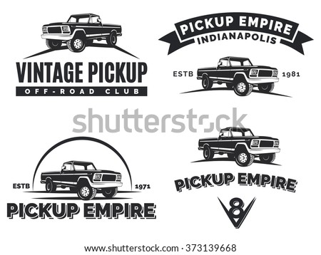 Set of suv pickup car vector emblems, labels and logos. Offroad extreme pickup truck design elements, 4x4 vehicle illustration. - stock vector