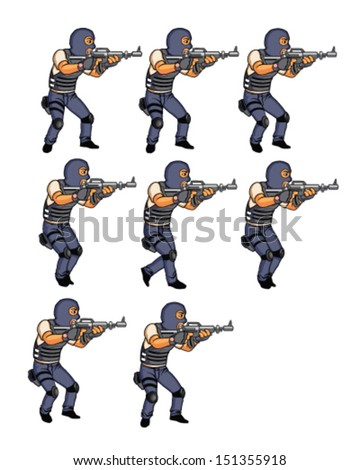 Set of SWAT Office Walking Animation for Android Game - stock vector