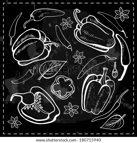set of sweet and chili peppers on black chalkboard with chalk drawn - stock vector