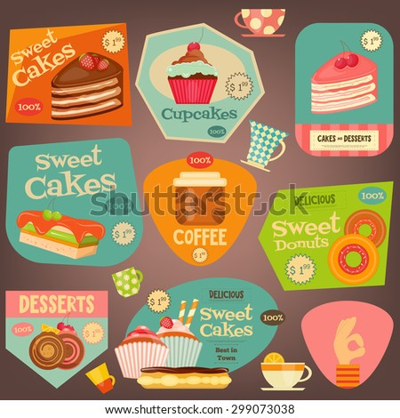 Set of Sweet Cakes and Cupcakes Stickers. Vector Illustration. - stock vector