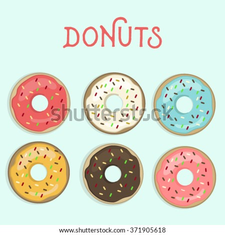 Set of sweet colorful donuts