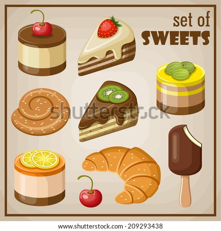 Set of sweets - stock vector