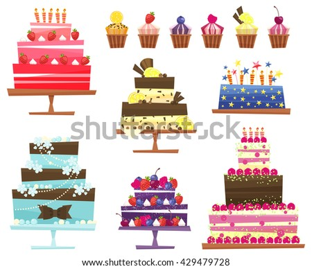 Set of sweets and cakes - vector illustration