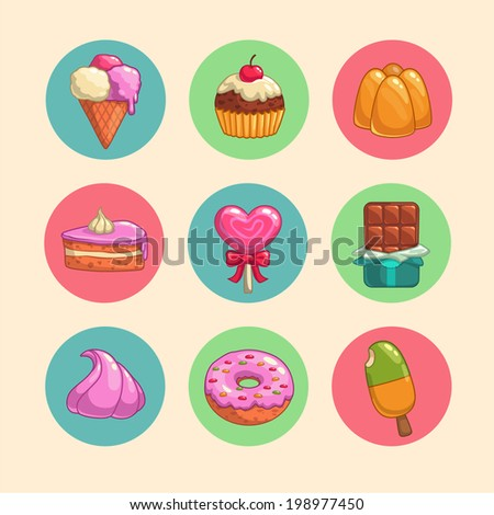 Set of sweets and candies icons - stock vector