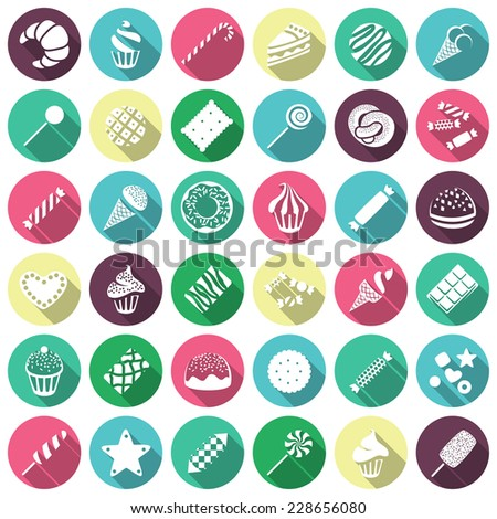 Set of sweets icons. Vector illustration in trendy flat style  - stock vector