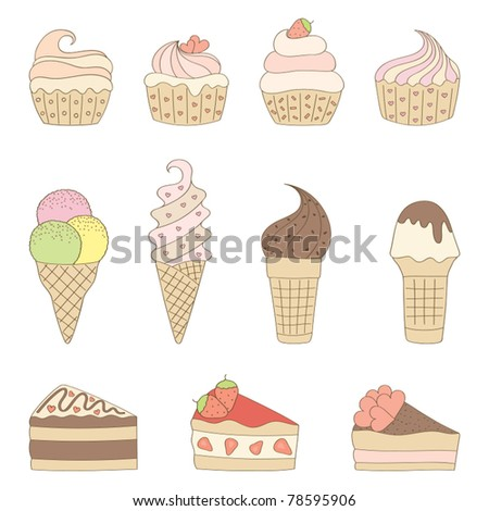 Set of sweets. Vector illustration.