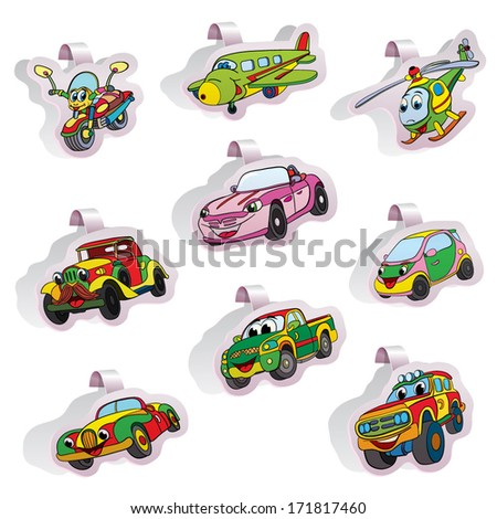 Set of swinging stickers with a different transport: by machines, motor cycle, by air and helicopter. - stock vector