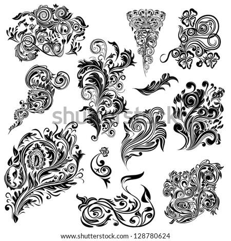 Set of swirl elements for design - stock vector