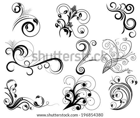 Set of swirl floral design elements - stock vector