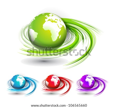 Set of swirl wave globes design element. - stock vector