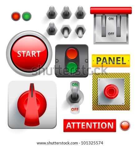 set of switches, toggle switches, switches, buttons. - stock vector