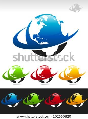 Set of swoosh globe logo icons - stock vector