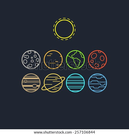 Set of symbolic line icons of solar system planets and sun, isolated on dark background. - stock vector