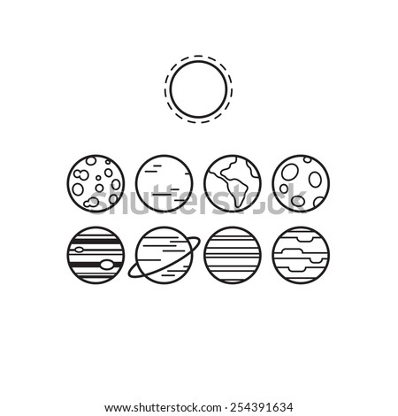 Set of symbolic line icons of solar system planets and sun, isolated on white background. - stock vector