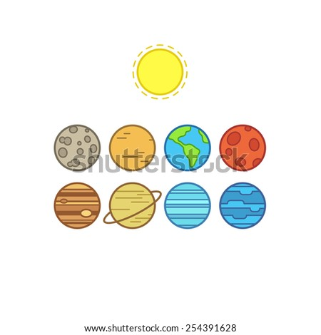 Set of symbolic stylized icons of solar system planets and sun, isolated on white background. - stock vector