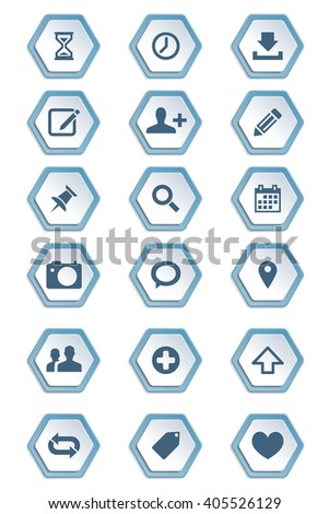 Set Symbols Icons On Hexagon Paper Stock Vector 405526129 Shutterstock