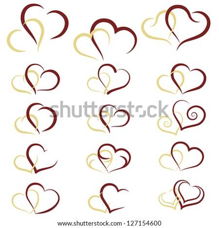 Set of symbols double hearts, vector - stock vector