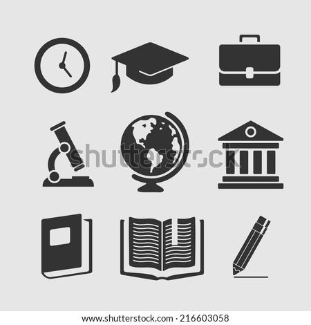 Set of symbols education - stock vector