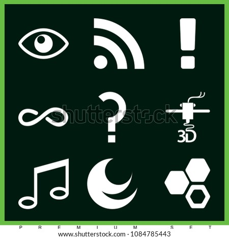 Set 9 Symbols Filled Icons Such Stock Vector 1084785443 Shutterstock