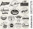 Set of symbols for Best Quality, Original Brand, New Product, Money Back. Thank you for choosing us, for your support, for shopping with us. Retro vintage style, hand lettering typographic symbols. - stock photo