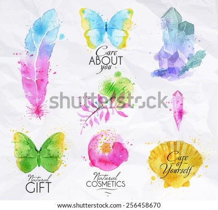Set of symbols icons nature watercolor painted symbol spray droplets butterfly, feather, branches, crystal, shell, flower - stock vector