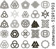 Set of symbols icons vector. Tattoo design set. - stock vector
