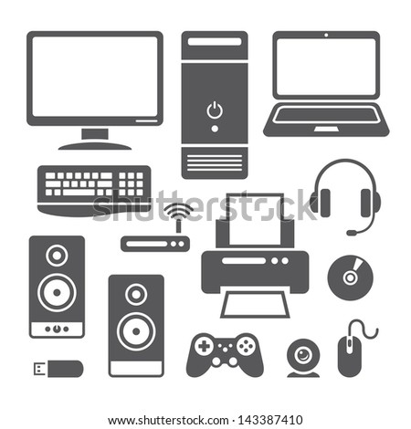 Set of symbols of computer devices in vector - stock vector