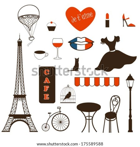 set of symbols of Paris - stock vector