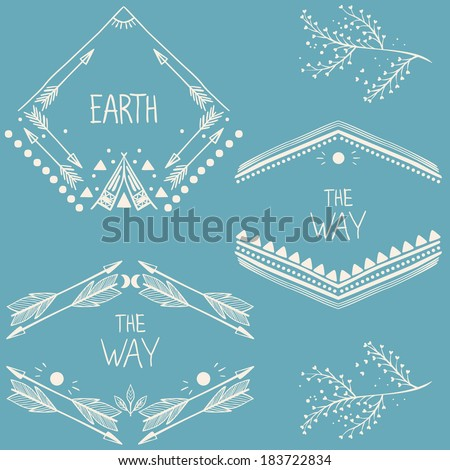 Set of symmetrical graphic design elements.  - stock vector