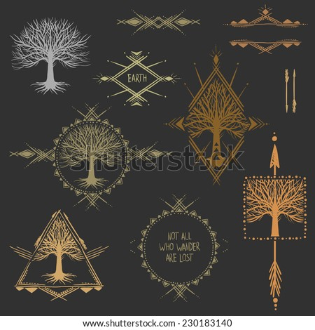 Set of symmetrical graphic design elements.  - stock vector