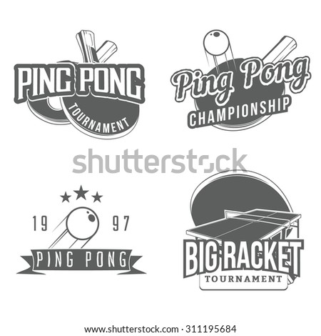 Set of table tennis / ping pong labels, logos, badges and design elements (racket, tennis ball, tennis table). Sport logos / elements for your tournament logo design. Vector. - stock vector