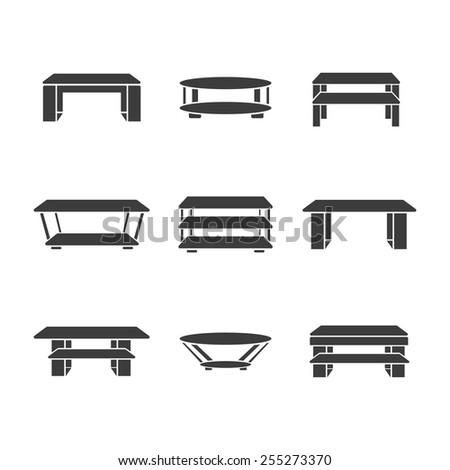 Set of tables on a white background. Vector - stock vector