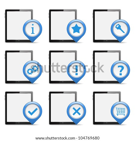 Set of Tablet PCs with Icons, vector eps10 illustration - stock vector