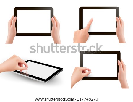 Set of tablet screen with hands. Vector. - stock vector