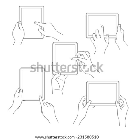 Set of tablet screen with hands Vector illustration - stock vector
