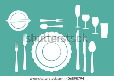 set of tableware on white background - stock vector