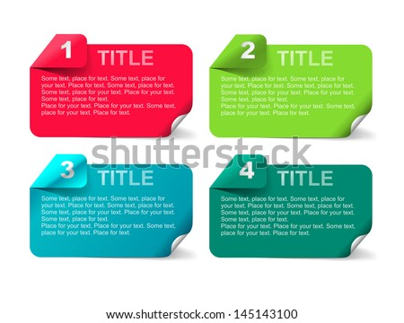 Set of tabs: 1, 2, 3, 4. Four banners for your tittles - stock vector