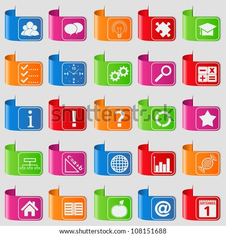 Set of tabs with education icons, vector epsp10 illustration