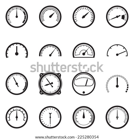 Set of tachometer icons. Vector illustration - stock vector