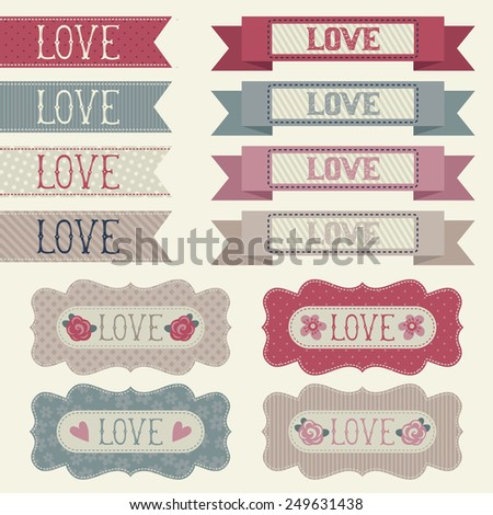 Set of tags and banners. Love - stock vector