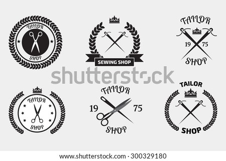 Set of tailor logo labels, emblems.  Tailor shop logo - stock vector