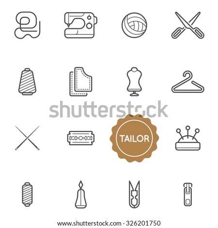 Set of Tailor Vector Illustration Elements can be used as Logo or Icon in premium quality - stock vector
