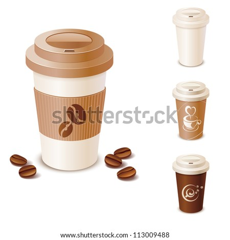 Set of takeaway coffee cups